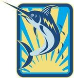 Blue Marlin Fish Jumping Retro. Illustration of a blue marlin fish jumping done in retro woodcut style set inside rectangle Royalty Free Stock Image