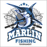 Blue marlin fishing logo illustration. Vector illustration. Royalty Free Stock Image