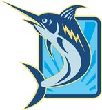 Blue Marlin Jumping Retro Royalty Free Stock Photo