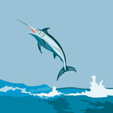 Blue marlin leaping from sea. Vector art showing a blue marlin vector illustration