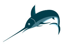 Blue marlin on white bg. Vector art showing a blue marlin. No gradients involved stock illustration