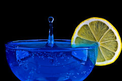 Blue Martini. Curacao Drink over black background Royalty Free Stock Photo