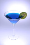 Blue Martini. With a slice of kiwi fruit Royalty Free Stock Photography