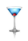 Blue martini cocktail isolated on white Stock Photos