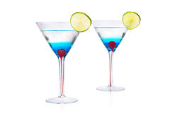 Blue Martini curacao drink. Royalty Free Stock Images