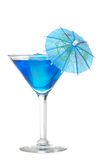 Blue martini with an umbrella Royalty Free Stock Photos