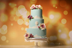 Blue marzipan cake Royalty Free Stock Images