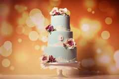 Blue marzipan cake with roses Royalty Free Stock Photos