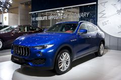 Blue Maserati car. In the 2018 china zhengzhou international automotive exhibition royalty free stock images