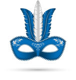 Blue mask with feathers Stock Image