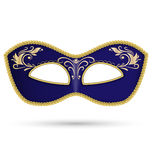 Blue mask with golden braid Stock Images