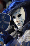 Blue mask with a mirror at Carnival of Venice Stock Image