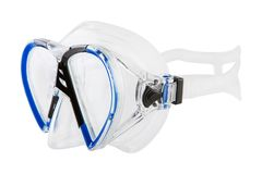 Blue mask for scuba diving, on a white background. Isolate stock photo