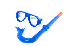 A blue mask and a snorkel Royalty Free Stock Photo