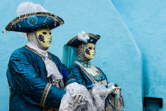 Blue masked couple Royalty Free Stock Photo