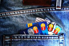 Blue Master Card on Denim Pocket Royalty Free Stock Photo