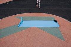 Blue Mat for sports. royalty free stock photos