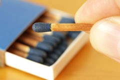 Blue Matches Hand Holding Royalty Free Stock Photo