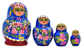 Blue Matryoshka, Russian dolls on a white Background. Blue Matryoshka, Russian dolls on white Background Royalty Free Stock Images