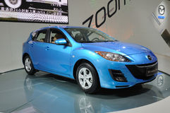 Blue mazda 3 Stock Images