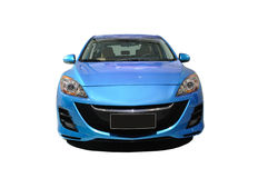 Blue mazda 3 front Royalty Free Stock Image