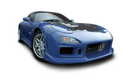 Blue Mazda RX-7. A front view of a Mazda RX-7 sports car, isolated on white background with clipping path. See my portfolio for more automotive images stock image