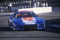 A blue Mazda Trans AM in the Toyota Grand Prix Car Race in Long Beach, CA Royalty Free Stock Image