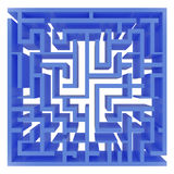 Blue_maze. Top view of 3d render of blue maze Royalty Free Stock Images