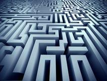 Blue maze ,complex problem solving concept. Blue labyrinth 3d render illustration represent complex problem solving concept Royalty Free Stock Photos