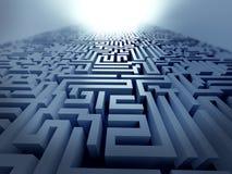 Blue maze ,complex problem solving concept. Blue labyrinth 3d render illustration represent complex problem solving concept Royalty Free Stock Images