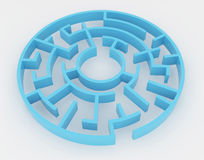 Blue maze, complex way to find exit. Stock Image