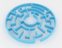 Blue maze, complex way to find exit. Blue maze, complex way to find exit, business concept Stock Image