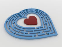 Blue Maze Heart on White Background,3D Render. A blue maze heart with a red heart inside the target. 3D Render on a reflective white floor. Finding love concept Royalty Free Stock Image