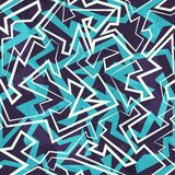 Blue maze seamless pattern with grunge effect. (eps 10 vector file Royalty Free Stock Photo