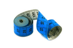 Blue measuring tape Royalty Free Stock Photo