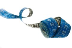 Blue measuring tape isolated on white Stock Photos