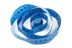 Blue measuring tape  isolated on white background Royalty Free Stock Photos