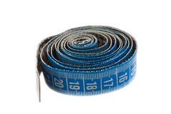 Blue measuring tape on white Royalty Free Stock Image