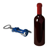 Blue mechanical corkscrew for opening wine bottles and closed bottle of red wine Royalty Free Stock Image