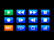 Blue media buttons. A set of 12 media buttons that can be used in web application or software creation. Play and REC buttons are contrastly coloured for easy use Royalty Free Illustration
