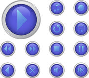 Blue media buttons set Royalty Free Stock Images