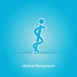 Blue  medical background. With caduceus snake Stock Photos