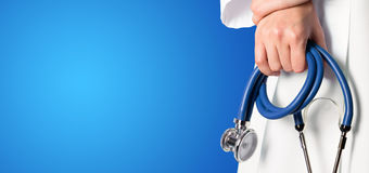 Blue medical background with nurse Stock Image