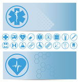 Blue medical banners with icons Royalty Free Stock Image