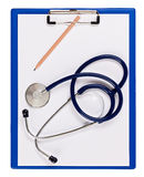 Blue medical clipboard with stethoscope Royalty Free Stock Images