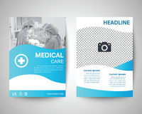 Blue medical flyer a4 template. Blue medical flyer template, brochure background, leaflet with cover, vector design in a4 size for business Royalty Free Stock Image