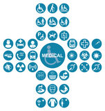 Blue Medical and health care Icon collection Royalty Free Stock Photo