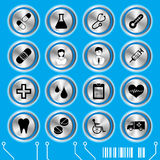 Blue medical icons set Royalty Free Stock Image