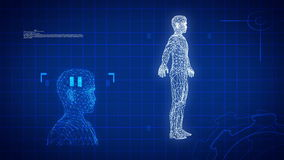 Blue medical science futuristic background, HDloop stock video footage