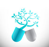Blue medical tree pill illustration design Stock Photos